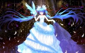 Art, Vocaloid, girl, dress, bird, feathers
