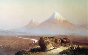 илья занковский, В горах, Вид на Арарат, горы, люди, лошади, животные, дорога