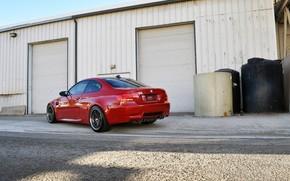 BMW, vermelho, vista traseira, construo, Persianas, cu, BMW