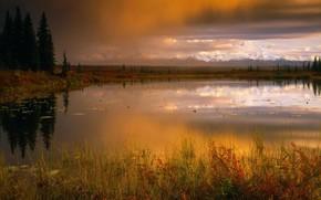 autunno, lago, orizzonte, Montagne, alberi, cielo, nuvole