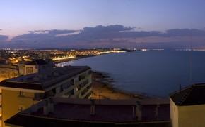 city, night, lights, panorama