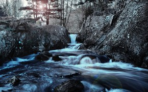 река, камни, пейзаж, водапад