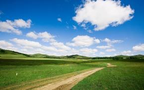 traccia, paesaggio, erba, nuvole, paesaggi, strade, natura