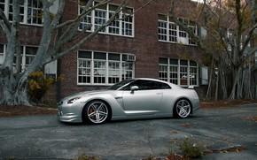 ниссан, гтр, серебристый, вид сбоку, диски, здание, окна, деревья, Nissan