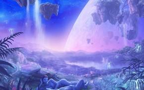 Avatar, Na'vi, girl, man, nature, planet, Star