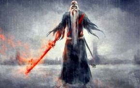 дедушка, меч, кровь, дождь, Блич