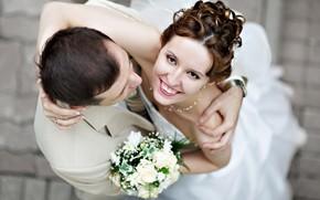 stato d'animo, ragazza, tipo, Sposi, coppia, sposa, Sposo, vestire, Matrimonio, mazzo di fiori, gioia, felicit, sorriso, risata, muro, sfondo, carta da parati