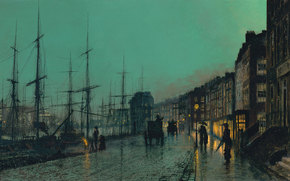 picture, John Atkinson Grimshaw, night, Street, city, Port, wharf, Ships, Mast, roadway, coach, home