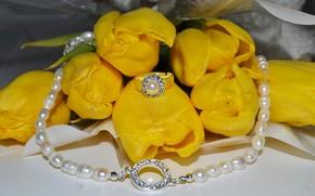 цветы, желтые, жёлтые, цветок, розы, бутон, тюльпаны, кольцо, украшение, колье