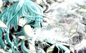 Art, Vocaloid, girl, debris, e