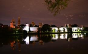 Новодевичий монастырь, монастырь, религия, ночь, Москва