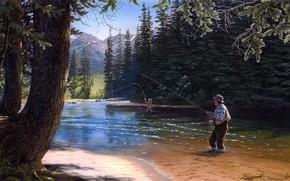 живопись, природа, хвойные деревья, ёлки, ель, река, рыбалка