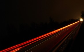 дорога, ночь, свет, след