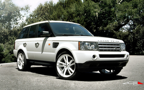 land rover, авто, джип, белый, деревья