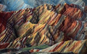 Nature, Danxia landform, Chine, prcipitation, Hills