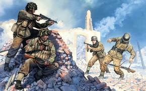 Soldados, Britnico, Alemanes, Arma, automtico, disparos, escaramuza, El Segundo Mundo, guerra, imagen