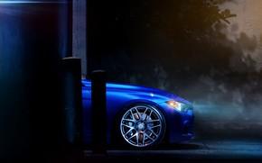 Авто, Машины, Тюнинг, Ночь, Диски, Стена, BMW