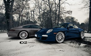 blu, inverno, profumatamente, Porsche