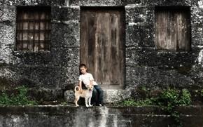 мальчик, собака, дом, настроение