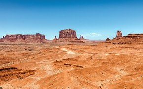 Долина монументов, монумент, долина, горы, небо, песок, пустыня, Юта, Аризона, США