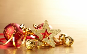 Balls, Toys, Christmas, star, Serpentine, gold, holiday, Christmas, New Year, New Year
