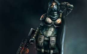 Art, girl, hood, weapon, rifle, Sniper, armor, X, cloak