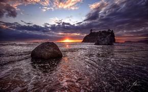 закат, море, пейзаж