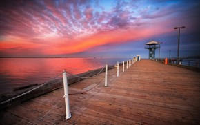 sunset, wharf, landscape