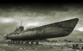 Submarino, Submarino, baixados, velho, enferrujado, em terra, porto