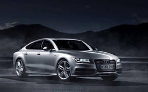 car, wallpaper, Audi, Sportback, night, lights, Audi