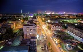 город, машины, огни, ночь, дома, горизонт