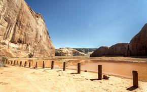 Долина монументов, монумент, долина, горы, небо, песок, пустыня, озеро, Юта, Аризона, США