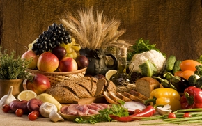 food, meat, bread, vegetables, onion, garlic, pepper, cucumbers, cabbage, tomatoes, greens, fruit, peaches, lemon, grapes, pears, plums, oil, wheat, mushrooms