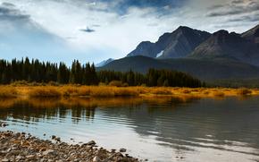 Канада, Альберта, осень, горы, лес, деревья, озеро, голубое, небо, облака