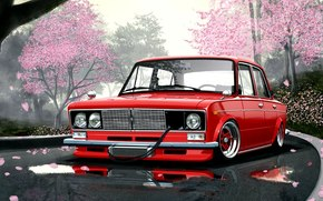 car, wallpaper, Vases, red, Japanese, style, sakura, road, puddles, front, picture, Art, Other brands