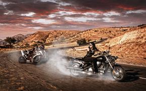 Motorcycles, road, rotation, Chase, girl, gun, sportbike, Chopper