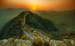 Great, Chinese, wall, sunset, fog