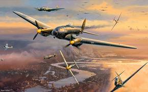 World War II, Battle for London, dogfights, British, Germans, aircraft, aviation, Art