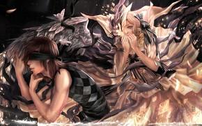 арт, девушка, парень, повязка, ангел, крылья, банты, поиск