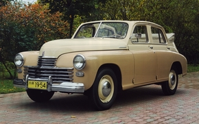 gas, victory, Cabriolet, classic, front, beige, background, Other brands