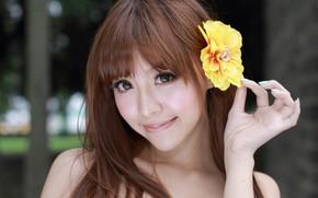 девушка, цветок, азиатка, лицо