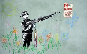 стена, рисунок, мальчик, оружие