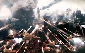 город, самолеты, битва, дым