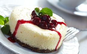 cake, cheesecake, Berries, cherry, jam, sweet, dessert
