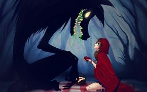 Petit Chaperon Rouge, loup. cur, fort, fille, manteau