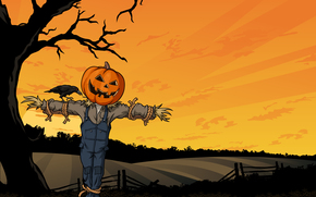 Halloween, scarecrow, pumpkin, crow, tree, field, fright, Horror, creepy