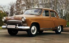 gas, Volga, sedan, korichnevyy.peredok, classic, background, Other brands