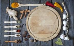 seasoning, spices, spoon, ginger, garlic, pepper, star anise, carnation, bay leaf