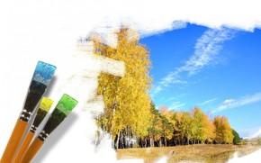 золотая осень, кисти, рисунок, небо, лес, деревья