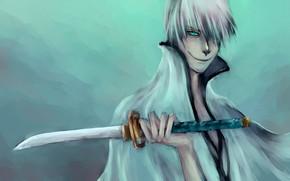 парень, взгляд, настроение, улыбка, оружие, меч, Блич
